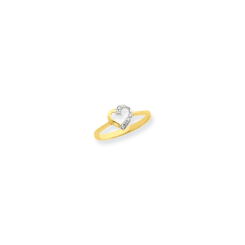 14K Yellow Gold and Rhodium Marquise Diamond Heart Ring. Carat Wt- 0.02ct