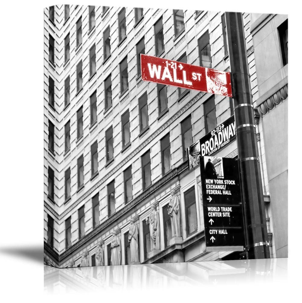 wall26 Black and White Photograph with Pop of Color on the Wall Street Sign - Canvas Art Home Decor - 12x12 inches