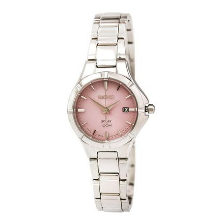 SUT315 Women's Core Solar Pink Dial Steel Bracelet Power Reserve Watch ()