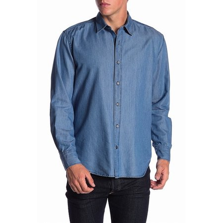 Navy Mens Denim Solid Button Down Shirt XL ()