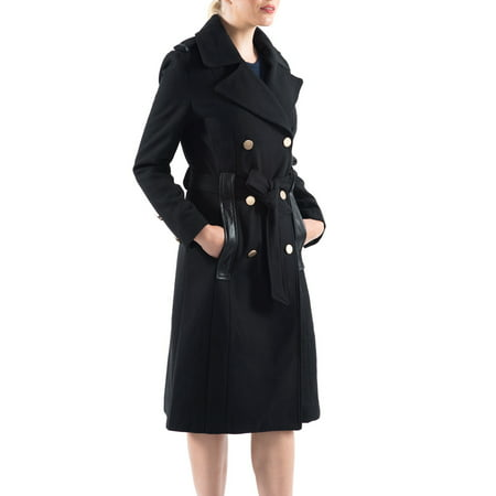 After Six Wool Coat - Alpine Swiss Womens Trench Coat Wool Double Breast Jacket Gold Buttons With Belt