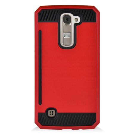 Insten Hard Dual Layer Hybrid Case with card slot holder For LG K7 - Red/Black - image 3 of 3