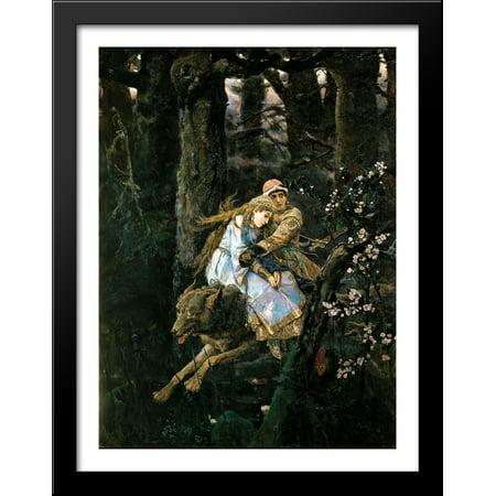 Ivan Tsarevich Riding the Grey Wolf 28x36 Large Black Wood Framed Print Art by Viktor (Janoski Max Black Wolf Grey Flash Lime)