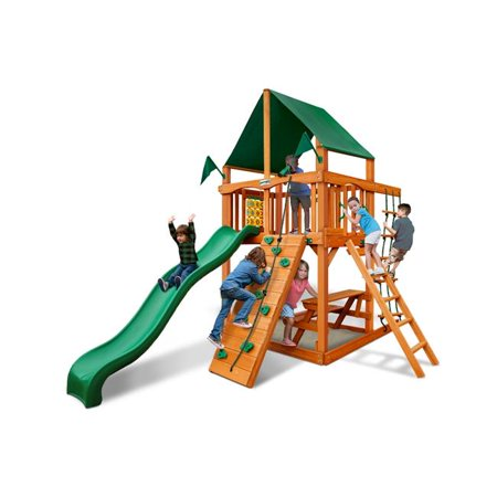 Chateau Tower Swing Set with Amber Posts & Sunbrella Canvas Forest Green Canopy