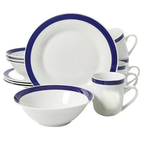 Nantucket Sail 12 pc Dinnerware Set - Blue Banded - Fine Ceramic ()