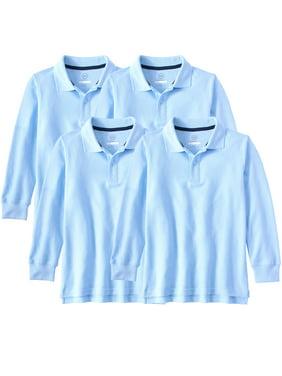 Wonder Nation Boys School Uniform Long Sleeve Double Pique Polo Shirt, 4-Pack Value Bundle, Sizes 4-18