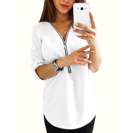 Plus Size Women V Neck Shirt Roll-Up Long Sleeve Casual Blouse Zip Tops Ladies Zipper Loose T-shirt Baggy Tee S-XXXXXL - Plus Size Cowgirl