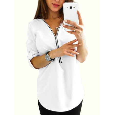 Plus Size Women V Neck Shirt Roll-Up Long Sleeve Casual Blouse Zip Tops Ladies Zipper Loose T-shirt Baggy Tee S-XXXXXL