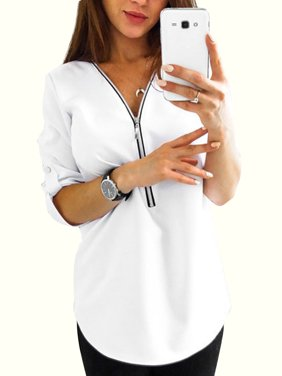 3458c55296aa Product Image Plus Size Women V Neck Shirt Roll-Up Long Sleeve Casual  Blouse Zip Tops Ladies