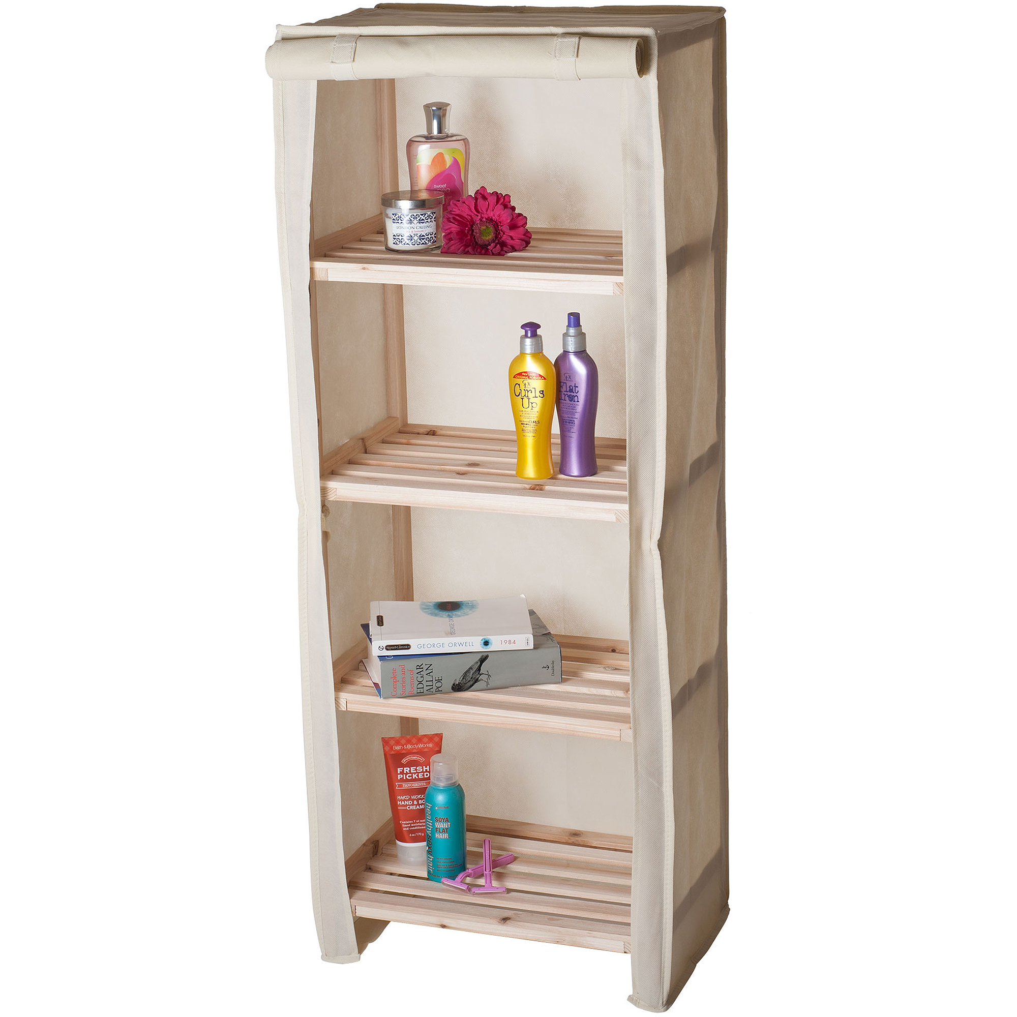 Lavish Home 4-Tier Wood Storage Shelving Rack with Removable Cover