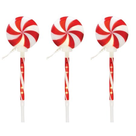 Celebrations E54GV912 Christmas Lollipop Pathway Light, Red & White - Christmas Lollipops