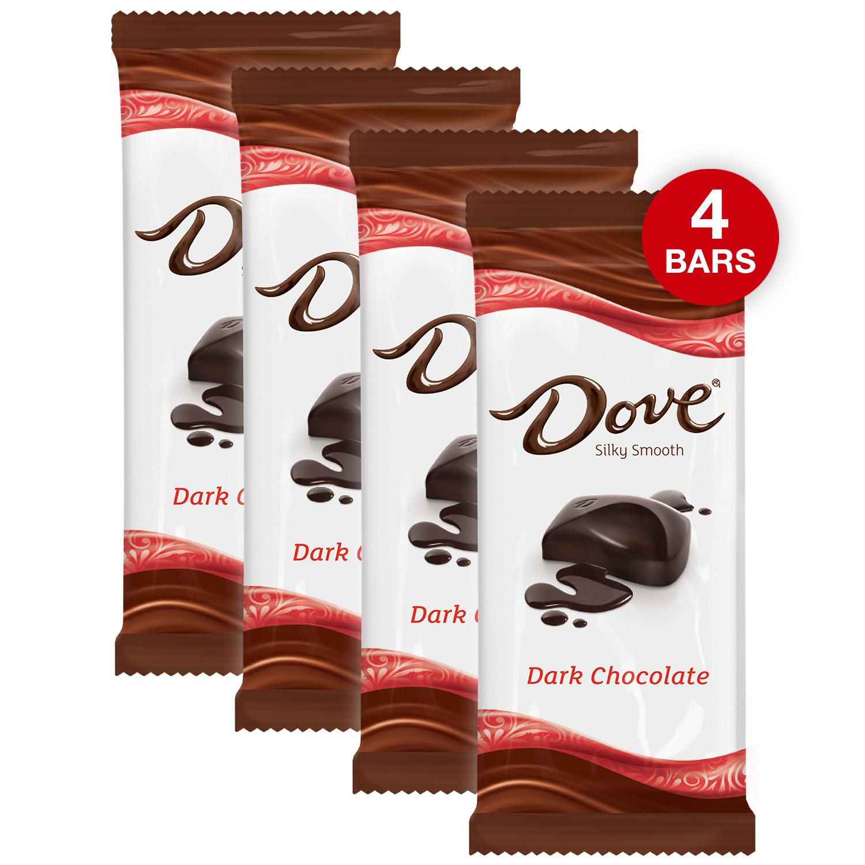 (4 pack) Dove Dark Chocolate Candy Bar, 3.30 Oz