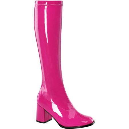 9f93a394561 Pleaser - Womens Hot Pink Go Go Boots 3 Inch Block Heel Stretch Knee Highs  Costume Shoes - Walmart.com