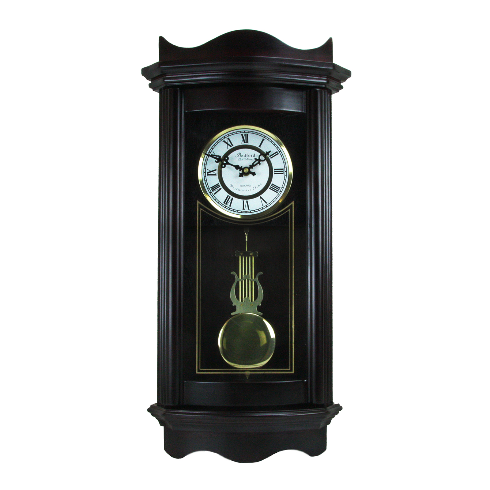 "Bedford Clock Collection Weathered Chocolate Cherry Wood 25"" Wall Clock with Pendulum by Bedford Clock Collection"