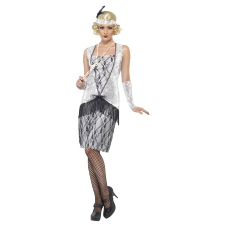 Women's 1920s Silver Flapper Costume - 1920s Couple