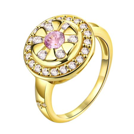 Gold Plated Pink Ruby Gemstone Ring Size 9