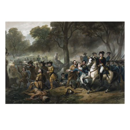 George Washington 1732-1799, First U.S. President, on Horseback during the Battle of Monongahela Print Wall Art George Washington Bottle