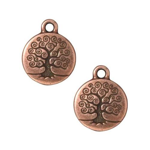 Copper Plated Pewter Round Tree Of Life Charm 19mm (1)