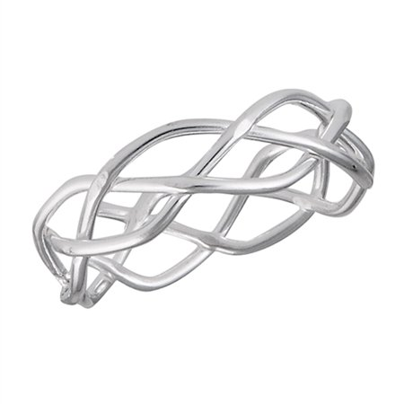 Eternity Criss Cross Weave Knot Wedding Ring 925 Sterling Silver Band Size 5.5