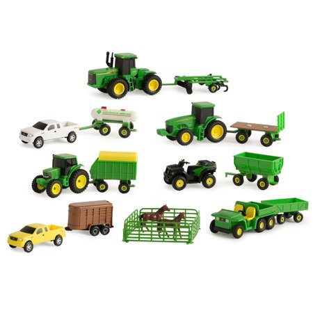 John Deere Toy Tractor Value Set, Tractor And Farm Animal Toys, 1:64 Scale, 20 Pieces Farm And Tractor