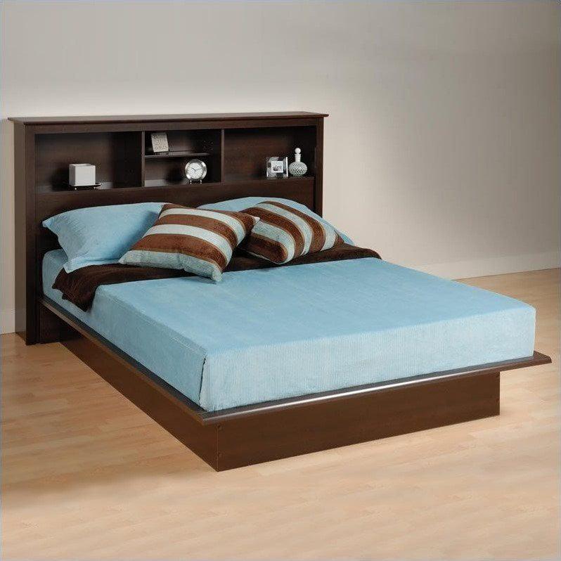 Prepac Manhattan Queen Bookcase Platform Bed 3 Piece Bedroom Set