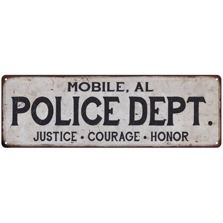 Mobile Al Police Dept Vintage Look Metal Sign Chic Decor