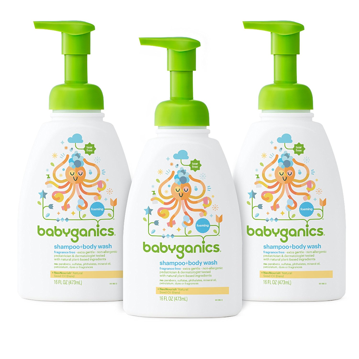 Babyganics Baby Shampoo and Body Wash, Fragrance Free, 3 Pack by