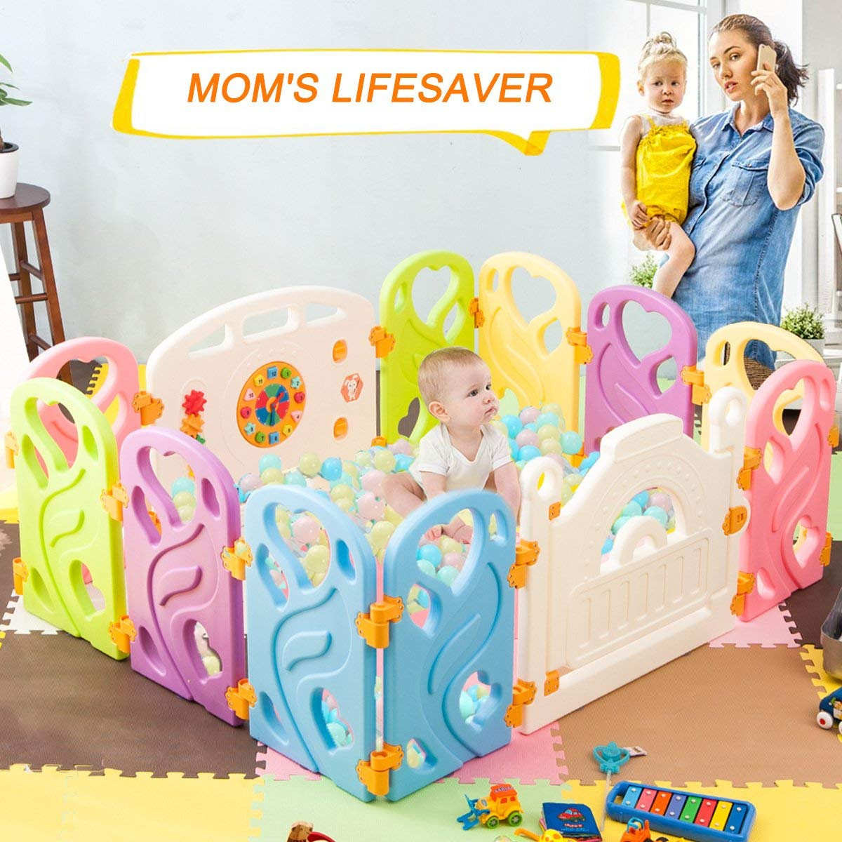 Harper&Bright Designs DreamHouse Baby Playpen 8 Panel Safety Play Center, Butterfly by Harper%26Bright Designs