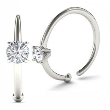 0.01ct Diamond Nose Ring Hoop - 14K White Gold or Yellow -