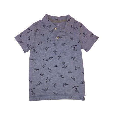 Toddler Boys Blue Paper Airplane Button Front Collared Polo Shirt Fly Guy