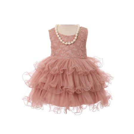 Girls Mauve Lace Stretch Necklace Wired Tutu Flower Girl Dress - Couture Costume D'halloween