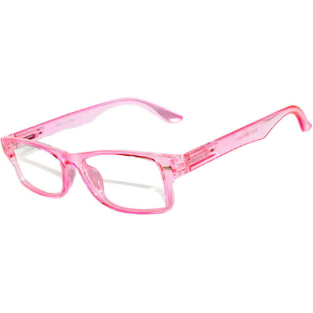 Narrow Retro Fashion Style Rectangular Pink Frame Clear Lens (Vintage Style Eyeglass Frames)