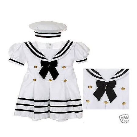BABY GIRL & TODDLER SAILOR FORMAL OUTFITS DRESS WHITE  (Sailor Patriotic Dress)