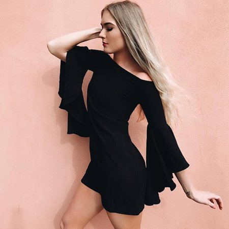 Women Solid Three Quarter Sleeve Dress Strapless Elasticity Mini Dress ()