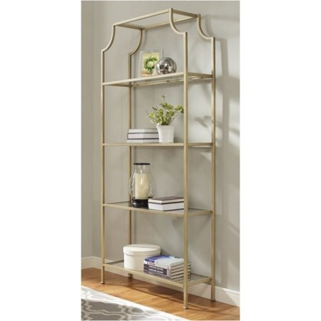 Pemberly Row Glass Bookcase in Antique Gold - Walmart.com