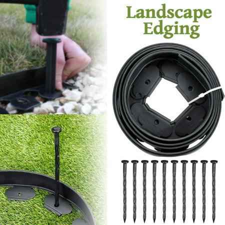 Garden Edge, Landscape Grass Edging Lawn Border Bed Front Yard/Backyard 10 Pins L-Shaped