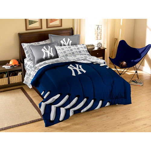 MLB Applique 3-Piece Bedding Comforter Set, Yankees