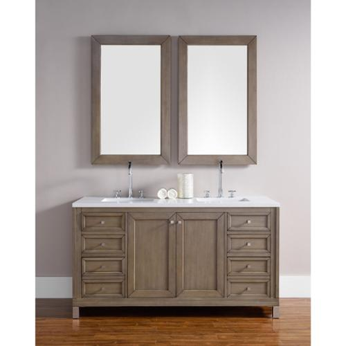 60 Inch Double Sink Vanity in White Washed Walnut 4 cm Carrera White Marble Top