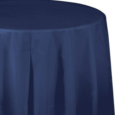 """Touch of Color Plastic Tablecover, Octy Round, 82"""", Navy, 1 Ct"""