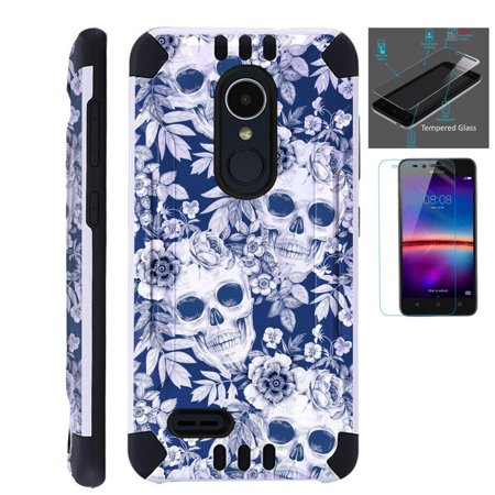 For LG Stylo 3 Case / LG Stylo 3 Plus Case (2017) LS777 MP450 M430 +  Tempered Glass Screen Protector / Slim Dual Layer Brushed Texture Armor  Hybrid