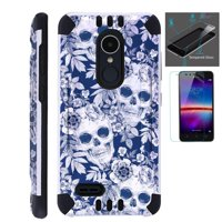 For LG Stylo 3 Case / LG Stylo 3 Plus Case (2017) LS777 MP450 M430 + Tempered Glass Screen Protector / Slim Dual Layer Brushed Texture Armor Hybrid TPU KomBatGuard Phone Cover (Skull Flower)