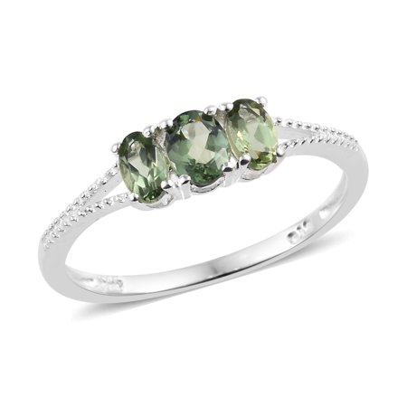 925 Sterling Silver Oval Green Apatite Statement Ring for Women Cttw 0.7 Jewelry Gift (Apatite Green Ring)