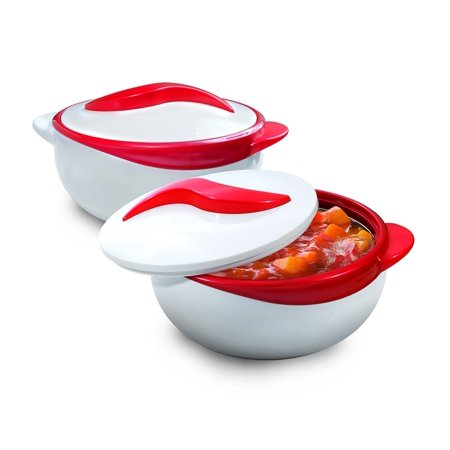 Pinnacle Serving Salad/ Soup Dish Bowl - Thermal Insulated Bowl with Lid -Great Bowl for Holiday, Dinner and Party Set of 2 (Red)
