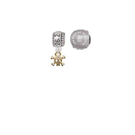 Goldtone Mini Skull & Bones with Crystals 26.2 Marathon Run She Believed She Could Charm Beads (Set of 2)