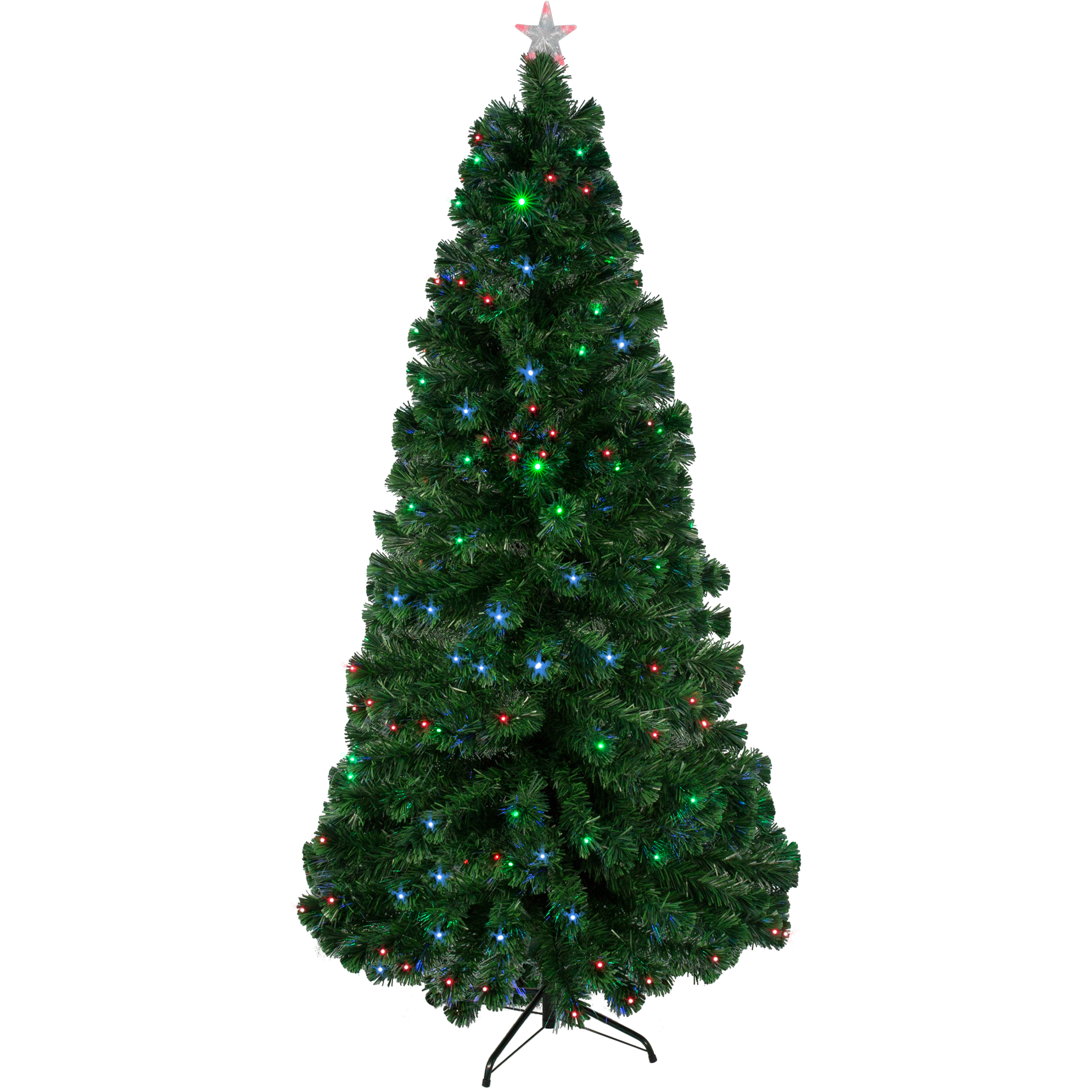 Fibre optic christmas flowers and xmas flowers - Pre Lit Fiber Optic 7 Green Artificial Christmas Tree With Led Multicolor Lights And Stand Walmart Com