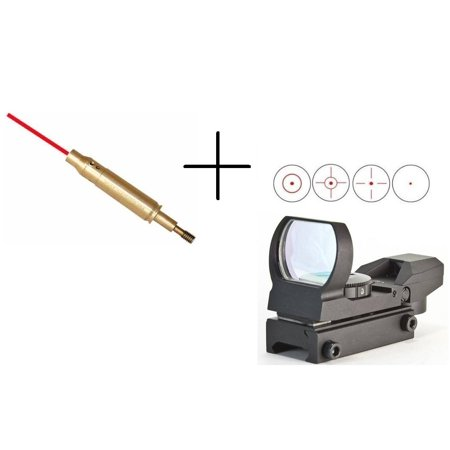 Ultimate Arms Gear Tactical Crossbow Archery Arrow Red Laser Bore Sighter Sighting Boresighter Aiming Tool + Multi 4 Reticle Red Dot Open Reflex Scope Sight Picatinny Rail Mount