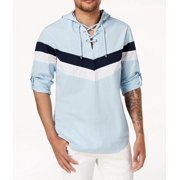 White Mens Small Striped Lace Up Hooded Shirt S