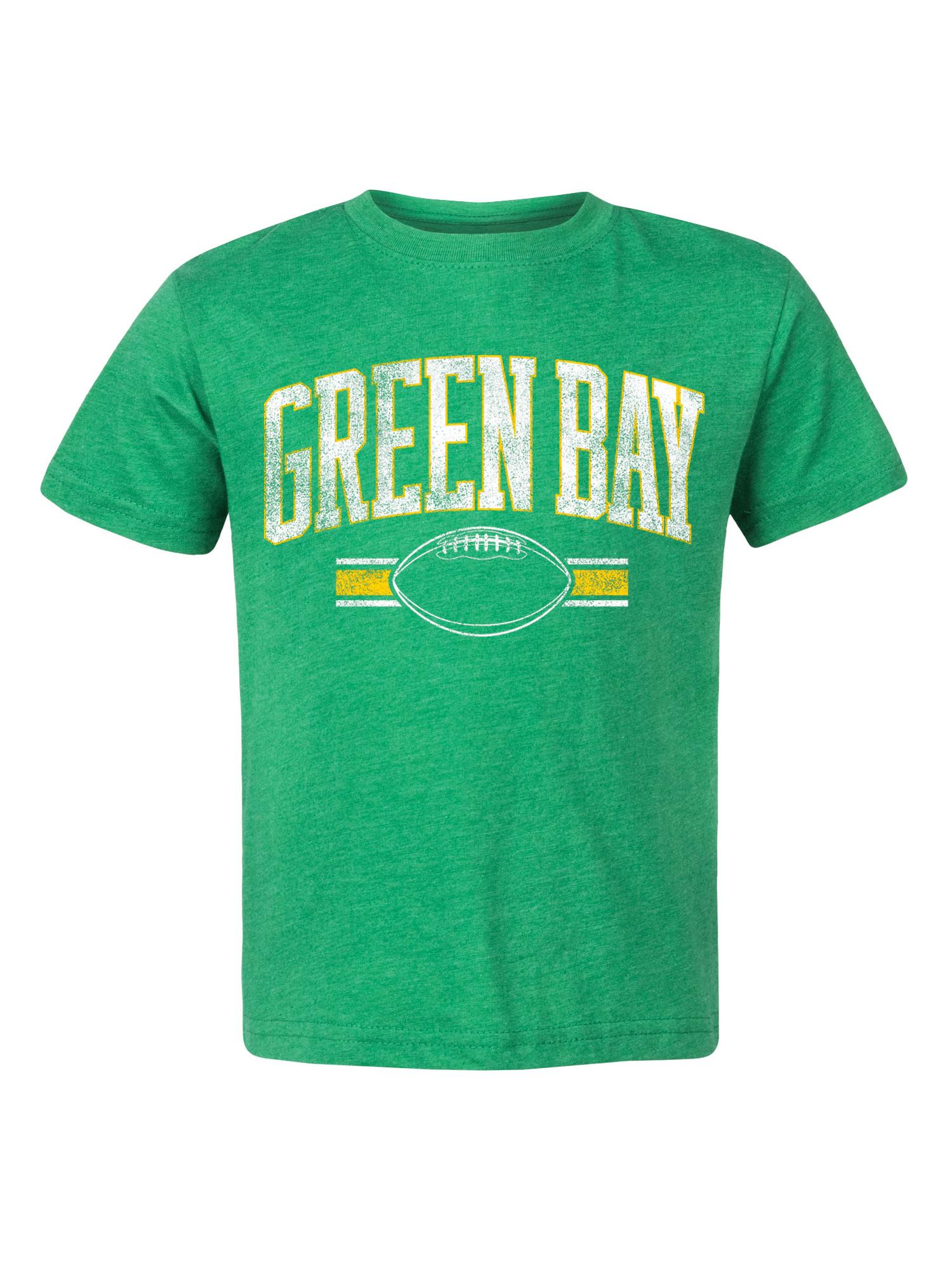 Boys Green Bay Football Fan Distressed Cotton Graphic Tee Shirt