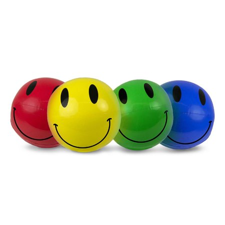 """Pack of 4 Smiley Play Classic Inflatable Beach Ball Swimming Pool Toys 16"""" - Large Inflatable Beach Ball"""