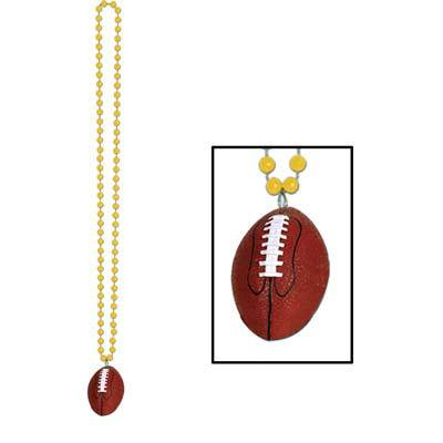 (Pack of 12) Football Party Beads with Football Medallion, gold (Football Beads)